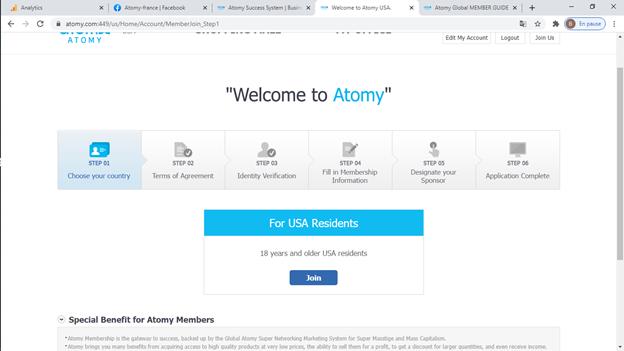 Comment se connecter sur compte atomy?